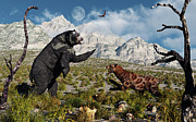 Bare Trees Posters - Confrontation Between An Arctodus Bear Poster by Mark Stevenson