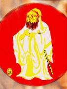 Richard W Linford Painting Posters - Confucius Wisdom Bright Red Poster by Richard W Linford
