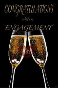 Champagne Mixed Media Metal Prints - Congratulation On Engagement Metal Print by Debra     Vatalaro