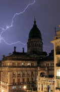 Argentina Photos - Congreso Lightning by Balanced Art