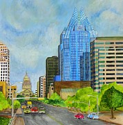 City Scape Paintings - Congress Avenue Austin Texas by Manny  Chapa