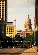 Congress Street Prints - Congress Avenue in Austin and Texas State Capitol Building Print by Sarah Broadmeadow-Thomas