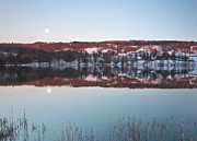 Cumbria Prints - Coniston Snow Sunset And Rising Moon Print by Nina K Claridge