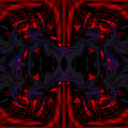 Pulsing Prints - Conjoint - Crimson and Royal. Print by Christopher Gaston