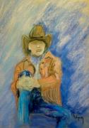 Leather Pastels Prints - Conjure up a Cowboy Print by Donna Ridgway