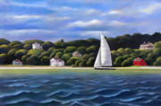 Sailboat Paintings - Connecticut Coastline by John Deecken