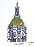 Pen And Ink Framed Prints Art - Connecticut State Capitol by Frederic Kohli