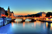Seine Metal Prints - Connecting Bridge Metal Print by Romain Villa Photographe