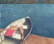 Oars Paintings - Connetquot Park Row Boat by Sheryl Heatherly Hawkins