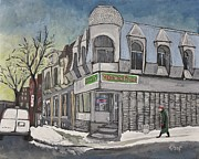 Montreal Buildings Painting Metal Prints - Connies Pizza PSC Metal Print by Reb Frost