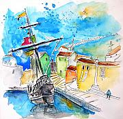 Seascape Jewelry Posters - Conquistador Boat in Portugal Poster by Miki De Goodaboom
