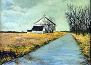 Cloudy Day Paintings - Conrads Farmhouse by Carol Ann Wagner