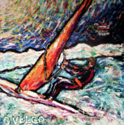 Wind Surfing Art Paintings - Conscience Surfer by Dennis Velco