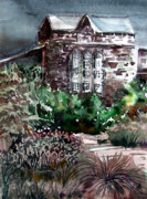 Early Mixed Media Prints - Conservatory Gardens in Scotland Print by Mindy Newman