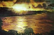 Fiber Art Paintings - Consett Bay Evening by Deborah Younglao
