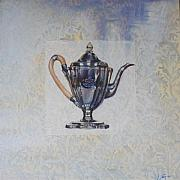 Silver Tea Pot Paintings - Consigned - Antique Tea Pot by Violet Taylor
