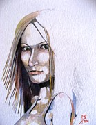 Watercolour Portrait Posters - Constance Poster by Ray Agius