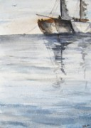 Boats In Water Paintings - Constant Companion by Trilby Cole