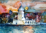 Sunset Drawings Originals - Constantinople Turkey by Mindy Newman