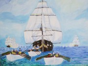 Maine Coast Drawings - Constitution Eluding British Fleet March 1812 by Bill Hubbard