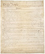 Handwritten Framed Prints - Constitution Of The United States Framed Print by Everett