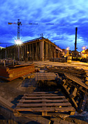 Workplace Prints - Constraction site at night Print by Jaroslaw Grudzinski