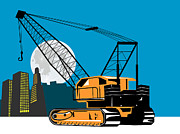 Crane Prints - Construction Crane Hoist Retro Print by Aloysius Patrimonio