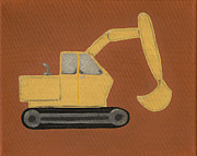 Children.baby Paintings - Construction Digger by Katie Carlsruh