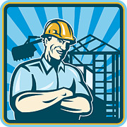 Industrial Digital Art Prints - Construction Engineer Foreman Worker Print by Aloysius Patrimonio