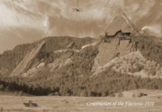 Bi Plane Posters - Construction of the Flatirons - 1931 - Sepia Poster by Jerry McElroy