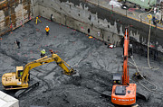 Loader Photos - CONSTRUCTION SITE diggers and workmen in the foundation pit of a new building Seattle by Andy Smy