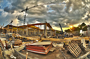 Workplace Photo Framed Prints - Construction site Framed Print by Jaroslaw Grudzinski
