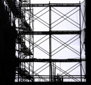 Work Site Posters - Construction Site Scaffolding Poster by Yali Shi