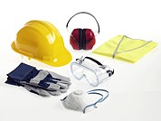 Hard Hat Prints - Construction Workers Safety Equipment Print by Tek Image