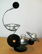 Black Sculpture Originals - Constructivist Candle Holder Model C  by John Gibbs