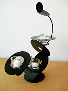 Black Sculpture Originals - Constructivist Candle Holder Model C v3 by John Gibbs