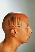 Consumer Framed Prints - Consumer Society: Bar Code Printed On Womans Head Framed Print by Victor De Schwanberg