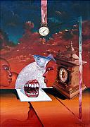 Surrealism Posters - Consumption Of Time  Poster by Otto Rapp