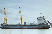 Storage Originals - Container Cargo freight ship with working crane by Anek Suwannaphoom