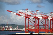 Cranes Photo Prints - Container Cranes and Industrial Ships Print by Yali Shi