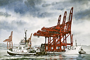Nautical Print Painting Originals - Container Cranes Tug Assist by James Williamson