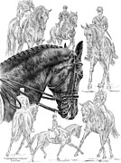 Swan Drawings Posters - Contemplating Collection - Dressage Horse Drawing Poster by Kelli Swan