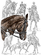Swan Drawings Posters - Contemplating Collection - Dressage Horse Print color tinted Poster by Kelli Swan
