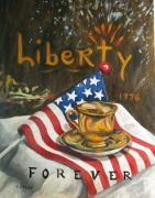 4th July Painting Prints - Contemplating Liberty Print by Cheryl Pass