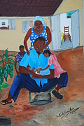 Haitian Paintings - Contemplating The Newborn by Nicole Jean-Louis
