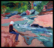 Slide Painting Prints - Contemplation at Slide Rock Print by Betty Pieper