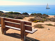 Cambria Paintings - Contemplation Bench at the Oceans Edge by Elaine Plesser