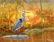 Great Blue Heron Paintings - Contemplation by Eileen  Fong