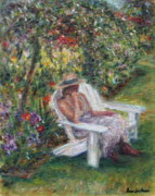 Quin Sweetman Paintings - Contemplation in the Garden by Quin Sweetman