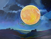 Full Moon Paintings - Contemplation by Julia Miller